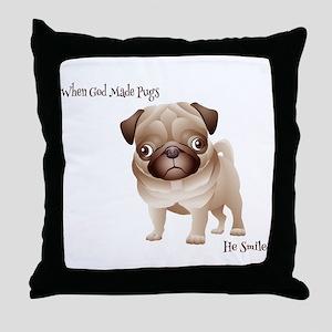When God Made Pugs Throw Pillow
