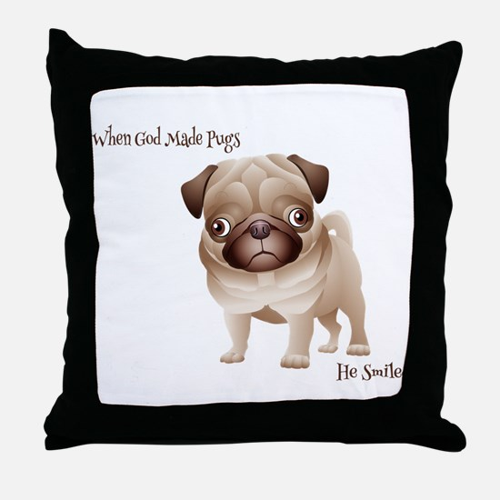 When God Made Pugs Throw Pillow