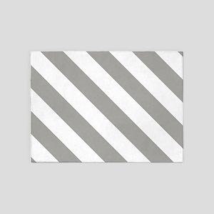 Grey, Fog: Stripes Pattern (Diagona 5'x7'Area Rug