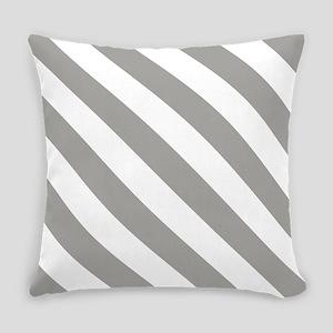 Grey, Fog: Stripes Pattern (Diagon Everyday Pillow