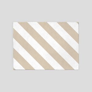 Brown, Beige: Stripes Pattern (Diag 5'x7'Area Rug