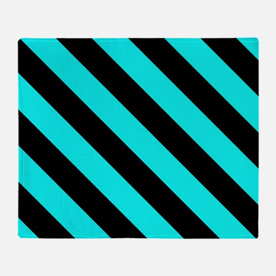 Turquoise Blue & Black Stripes Patte Throw Blanket