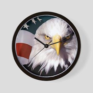 American Bald Eafle and Flag Wall Clock