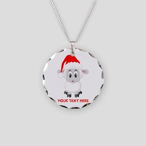Christmas Santa Sheep Baby Necklace Circle Charm