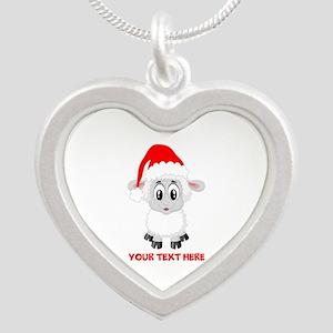 Christmas Santa Sheep Baby Silver Heart Necklace