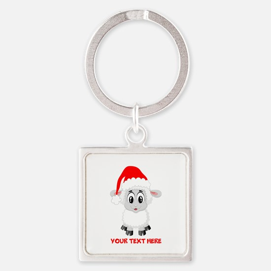 Christmas Santa Sheep Baby Square Keychain