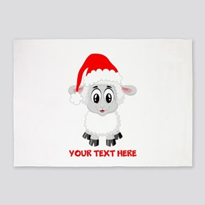Christmas Santa Sheep Baby 5'x7'Area Rug