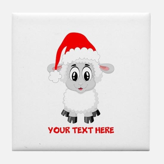 Christmas Santa Sheep Baby Tile Coaster