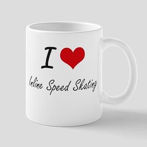 I Love Inline Speed Skating artistic Design Mugs