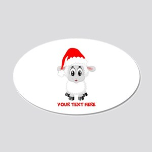 Christmas Santa Sheep Baby 20x12 Oval Wall Decal