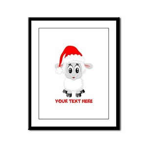 Christmas Santa Sheep Baby Framed Panel Print