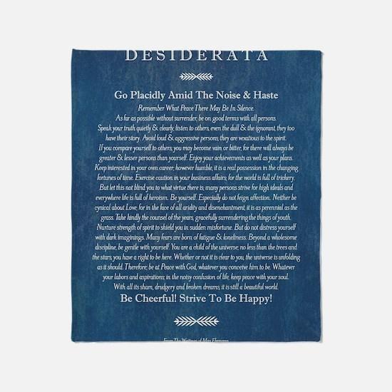 Desiderata on Blue Denim Throw Blanket