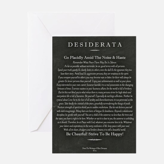 Desiderata Chalk Art on Blackboard Greeting Card