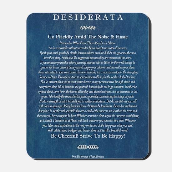Desiderata on Blue Denim Mousepad