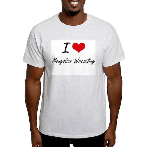 I Love Mongolian Wrestling artistic Design T-Shirt