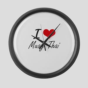 I Love Muay Thai artistic Design Large Wall Clock