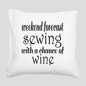 Sewing and Wine Square Canvas Pillow