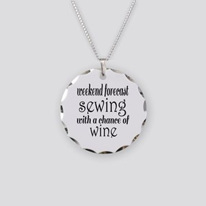 Sewing and Wine Necklace Circle Charm