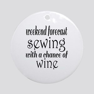 Sewing and Wine Round Ornament