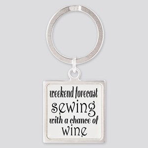 Sewing and Wine Square Keychain