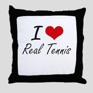 I Love Real Tennis artistic Design Throw Pillow