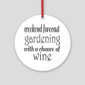 Gardening and Wine Round Ornament