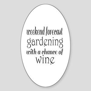 Gardening and Wine Sticker (Oval)
