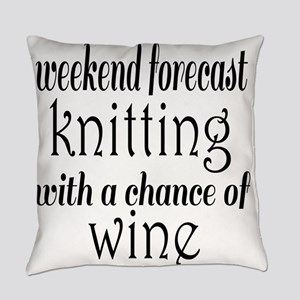 Knitting and Wine Everyday Pillow