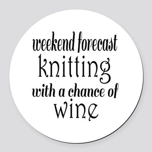 Knitting and Wine Round Car Magnet