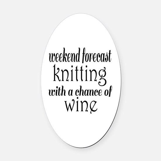 Knitting and Wine Oval Car Magnet