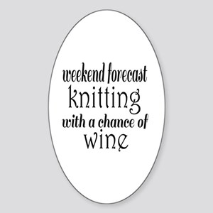 Knitting and Wine Sticker (Oval)