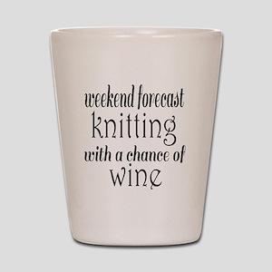 Knitting and Wine Shot Glass