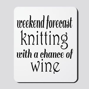 Knitting and Wine Mousepad