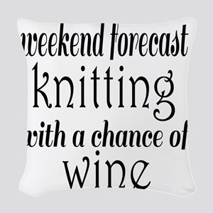 Knitting and Wine Woven Throw Pillow