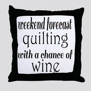 Quilting and Wine Throw Pillow