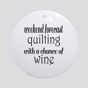 Quilting and Wine Round Ornament