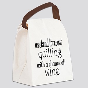 Quilting and Wine Canvas Lunch Bag