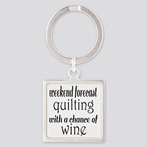 Quilting and Wine Square Keychain