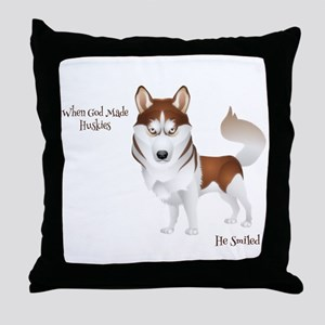 When God Made Huskies Throw Pillow