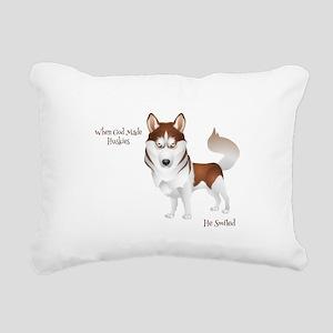 When God Made Huskies Rectangular Canvas Pillow