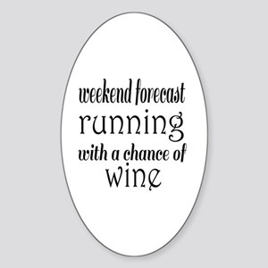 Running and Wine Sticker (Oval)