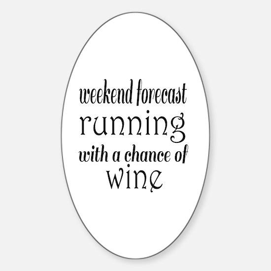 Running and Wine Sticker (Oval)