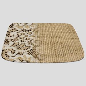 primitive western country burlap lace Bathmat