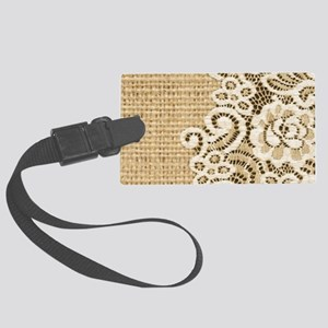 vintage rustic burlap and lace Large Luggage Tag