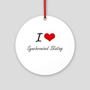 I Love Synchronized Skating artisti Round Ornament