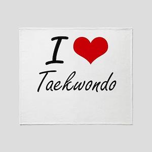 I Love Taekwondo artistic Design Throw Blanket