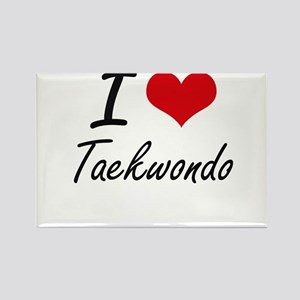 I Love Taekwondo artistic Design Magnets