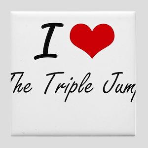I Love The Triple Jump artistic Desig Tile Coaster