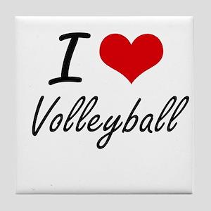 I Love Volleyball artistic Design Tile Coaster