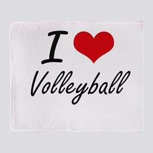 I Love Volleyball artistic Design Throw Blanket